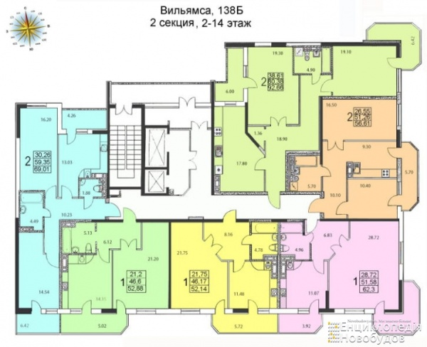 Планировки двухкомнатных квартир 57 м^2